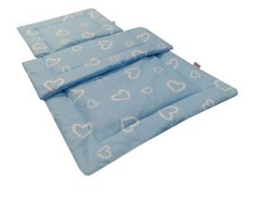 komplet do wózka bawełna niebieskie serca 2