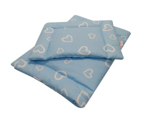komplet do wózka bawełna niebieskie serca 3